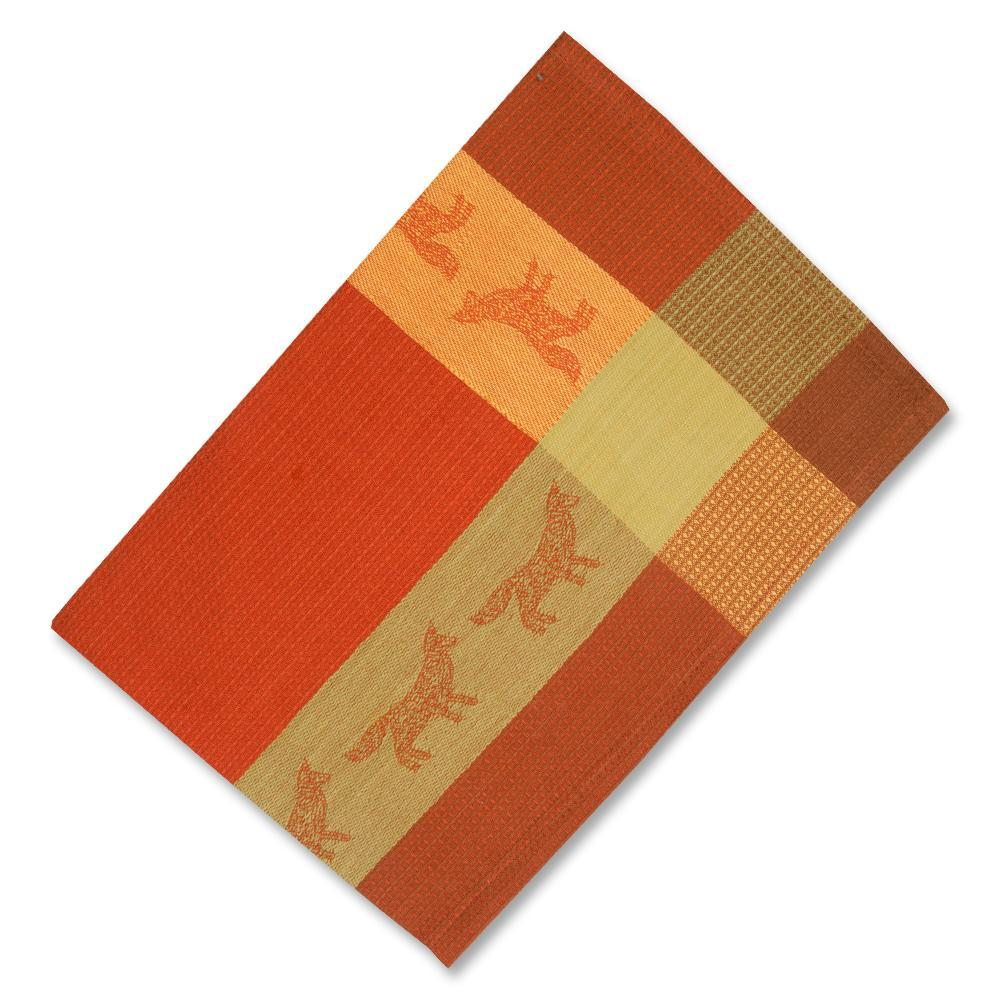 Red Fox Waffle Weave Kitchen Towel