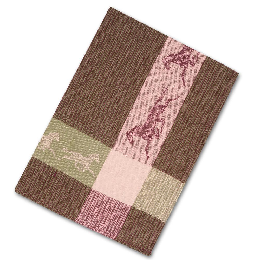 Trotting Horse Green Waffle Weave Kitchen Towel
