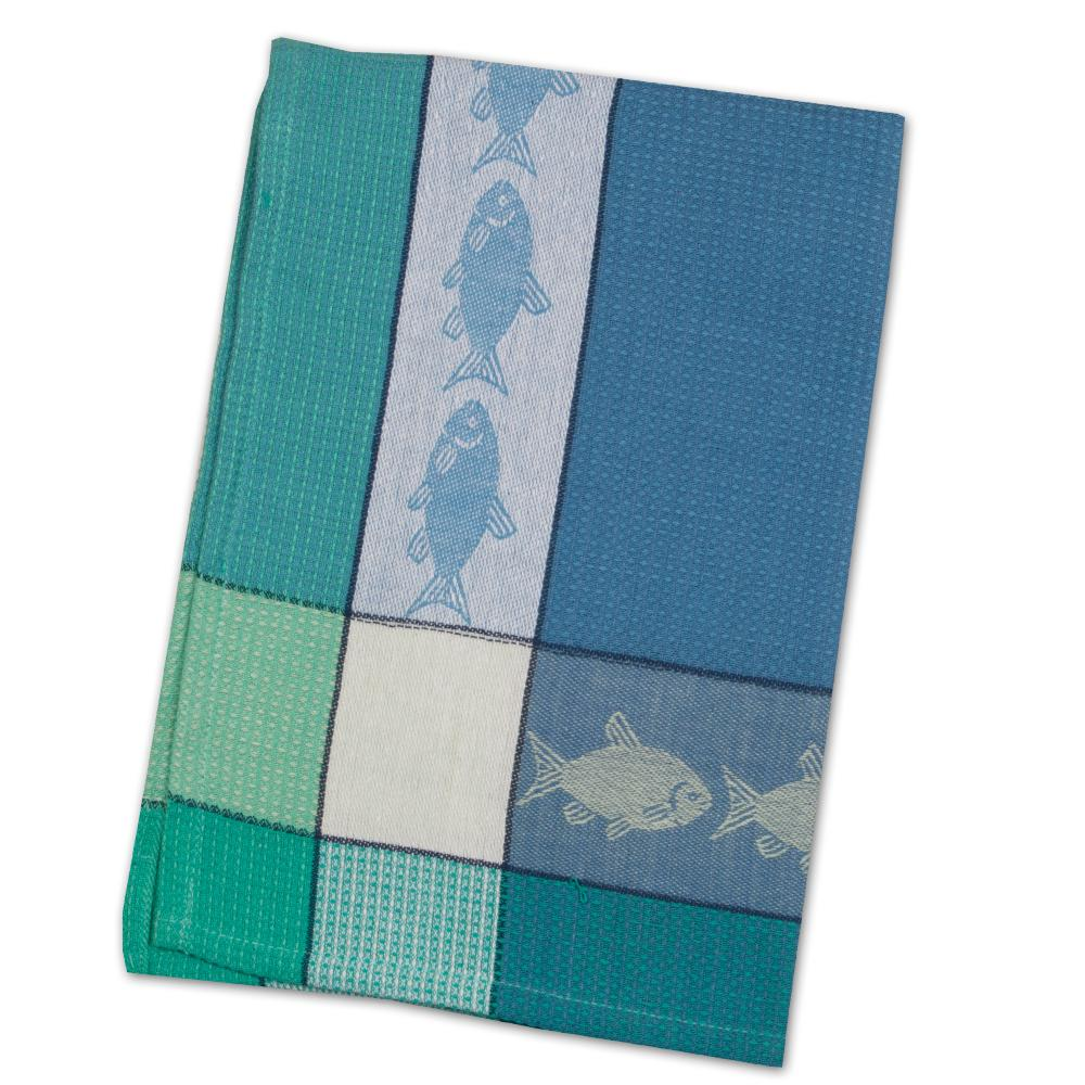 Fish Cadet Blue & Green Waffle Weave Kitchen Towel
