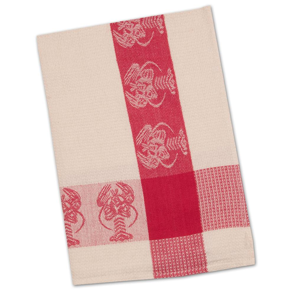 Lobster Red & Natural Waffle Weave Kitchen Towel