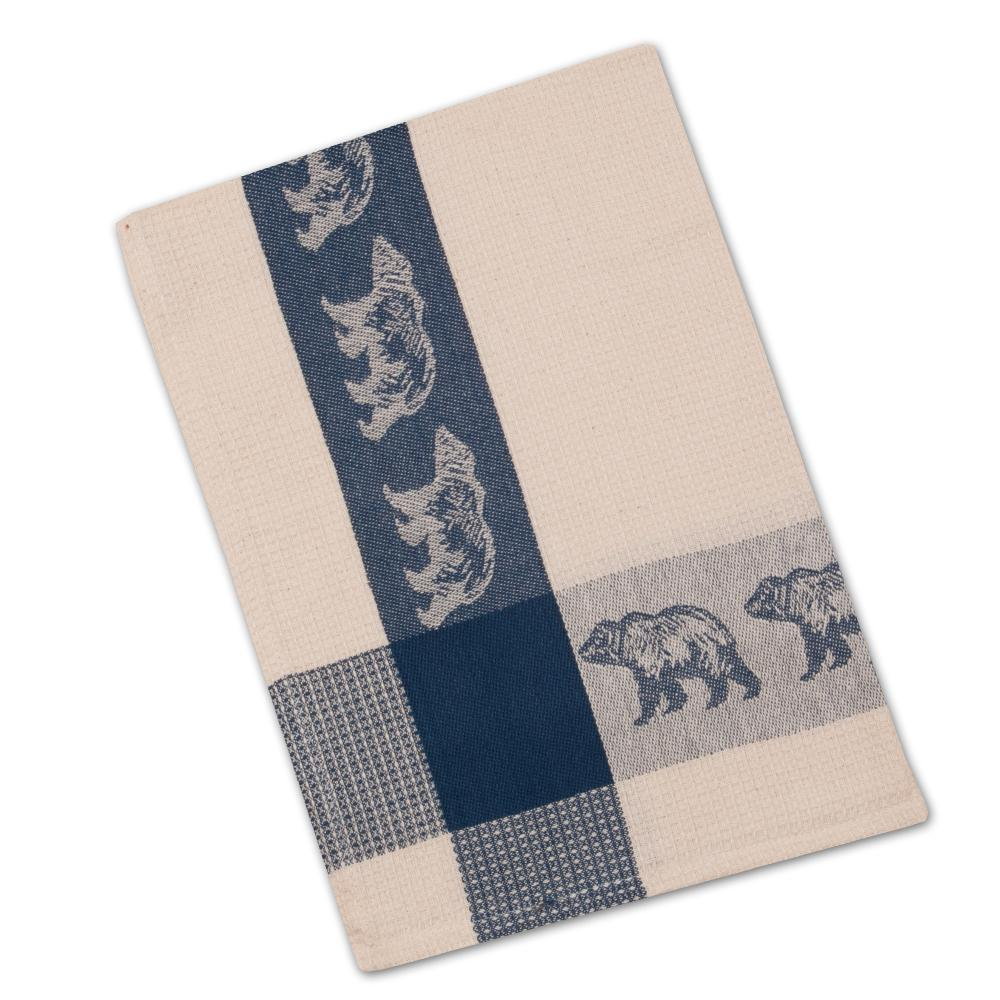Bear Blue & Natural Waffle Weave Kitchen Towel