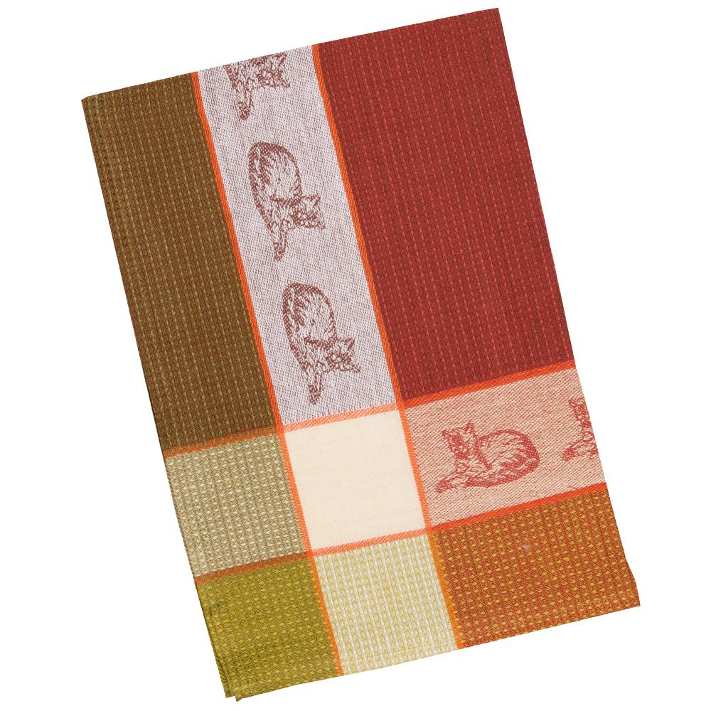 Cat Cocoa Waffle Weave Kitchen Towel