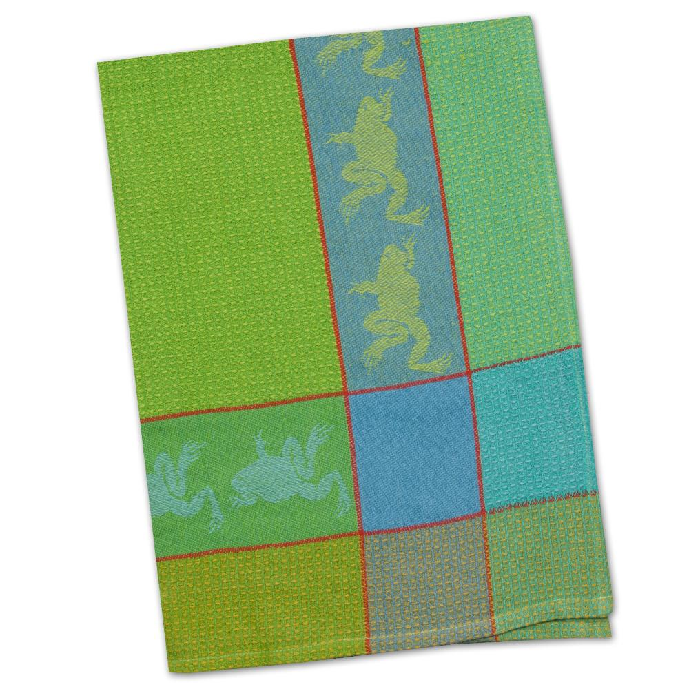 Frog Blue & Green Waffle Weave Kitchen Towel
