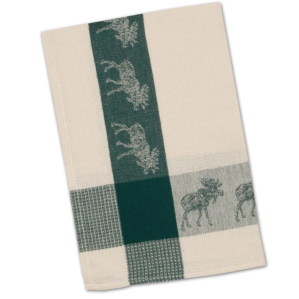 Moose Evergreen Waffle Weave Kitchen Towel