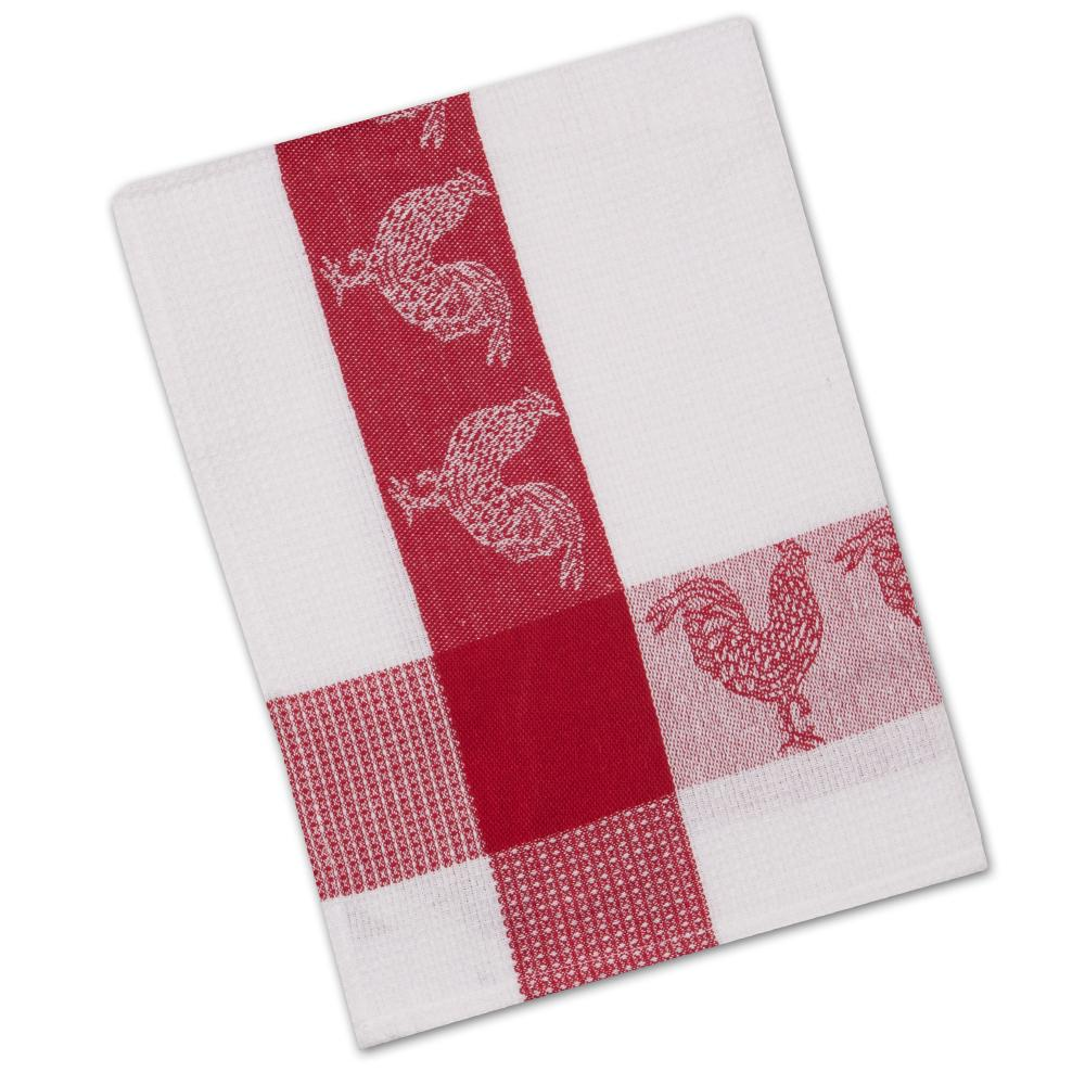Roosters Barnyard Red Waffle Weave Kitchen Towel