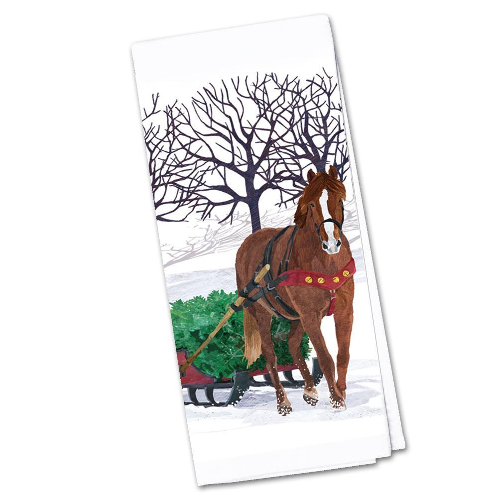 Horse Sleigh Kitchen Towel
