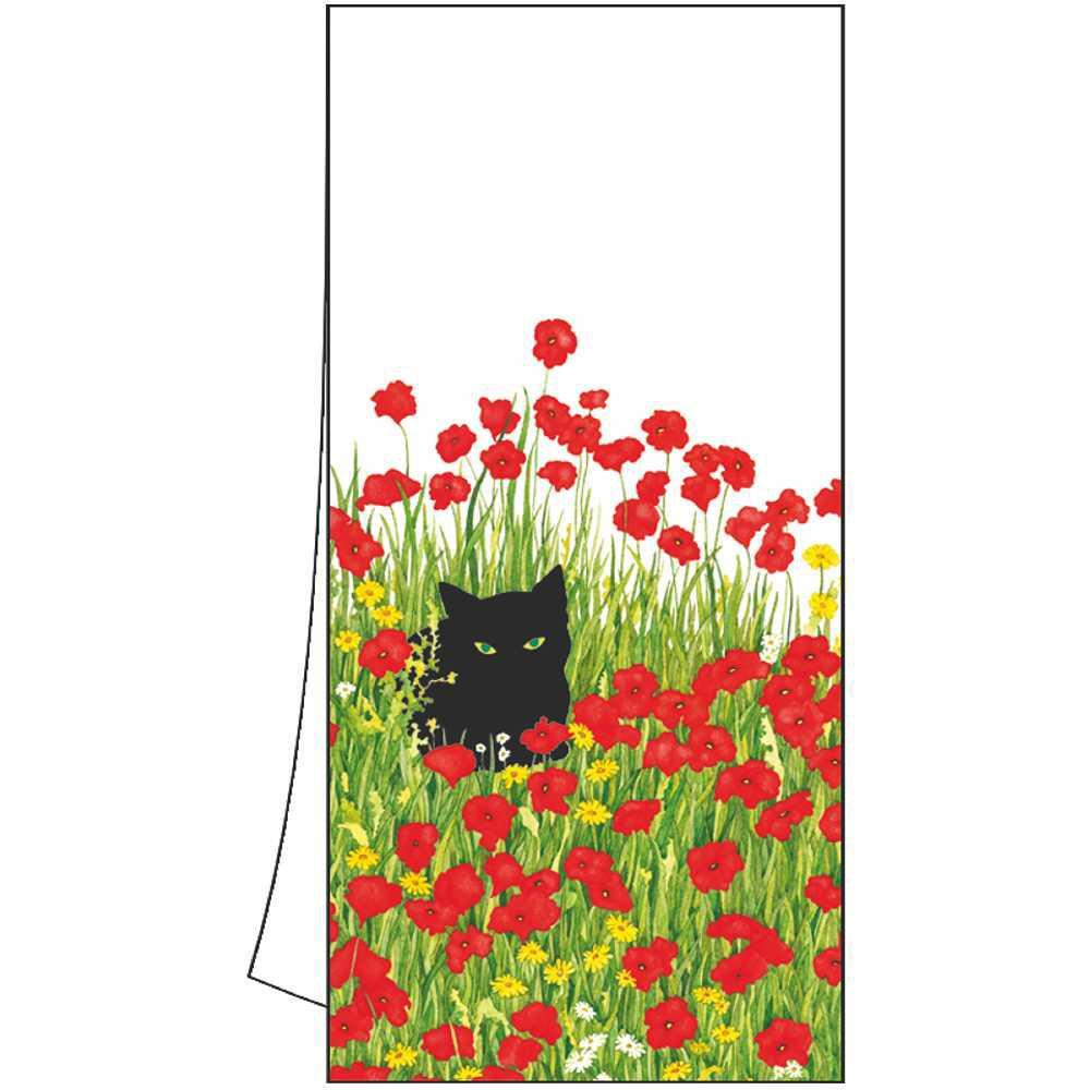 Black Cat Poppies Kitchen Towel