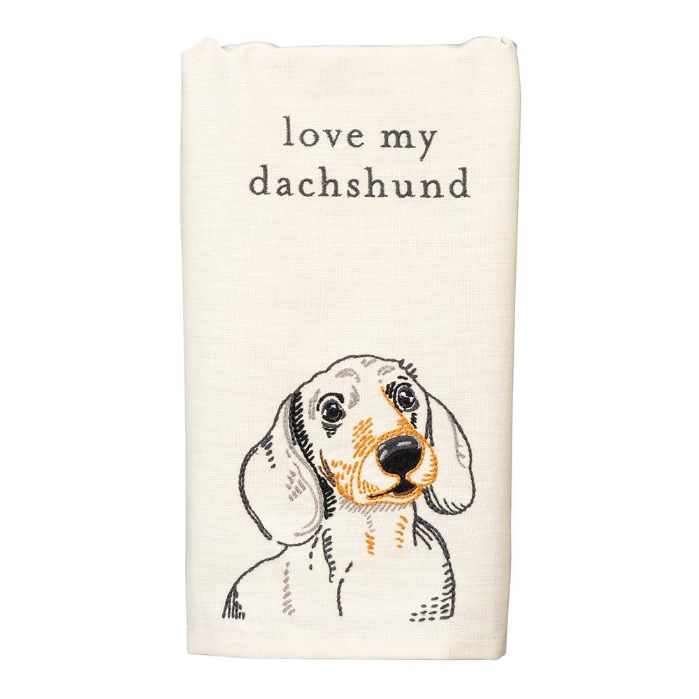 Love My Dachshund Embroidered Kitchen Towel