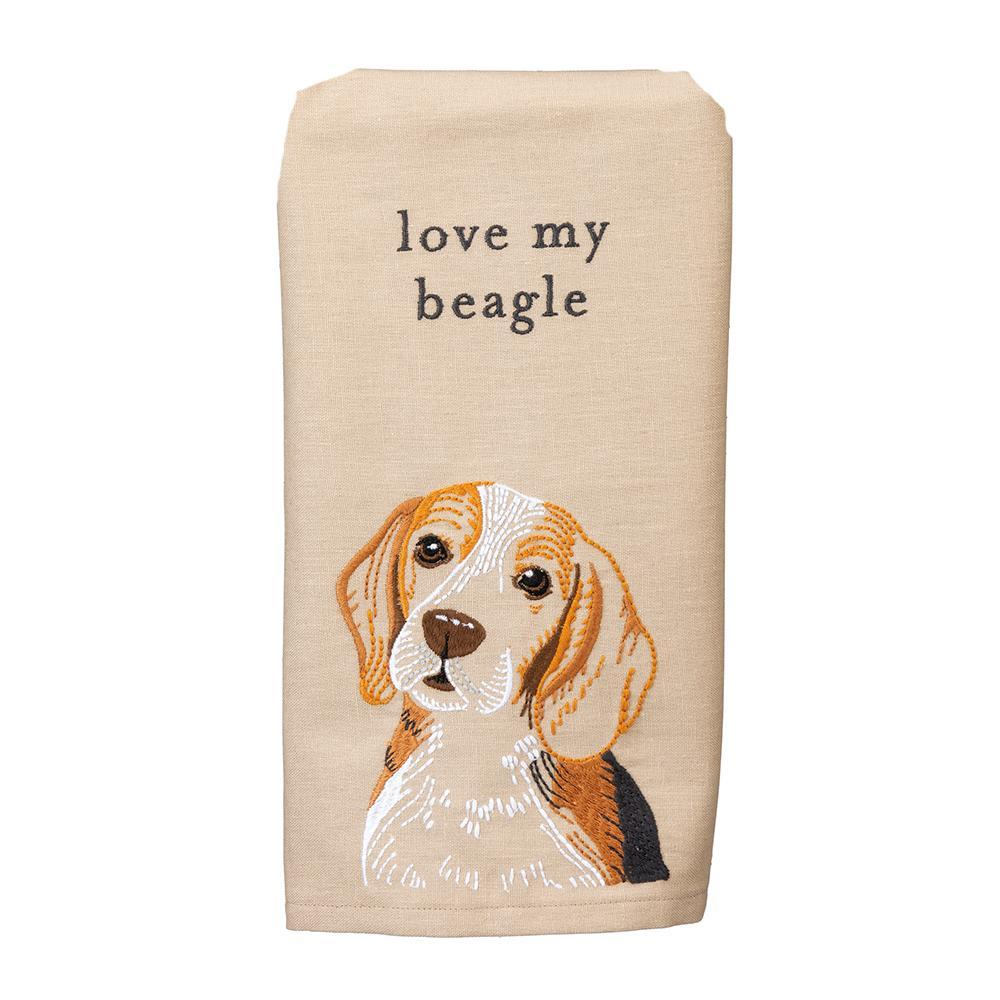 Love My Beagle Embroidered Kitchen Towel