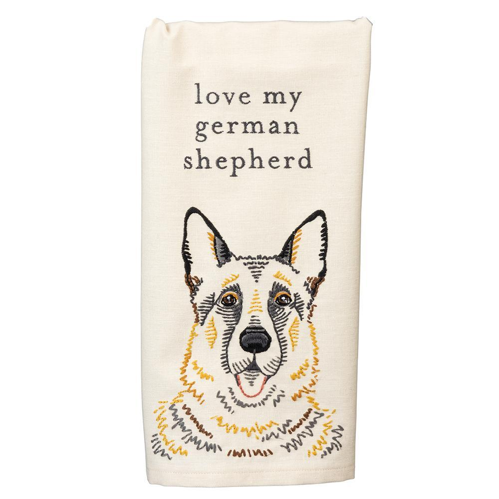 Love My German Shepherd Embroidered Kitchen Towel
