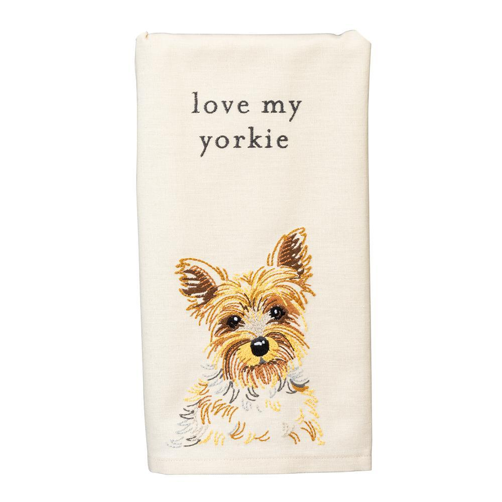 Love My Yorkie Embroidered Kitchen Towel