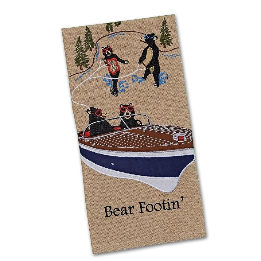 Boating Bear Footin' Embroidered Kitchen Towel