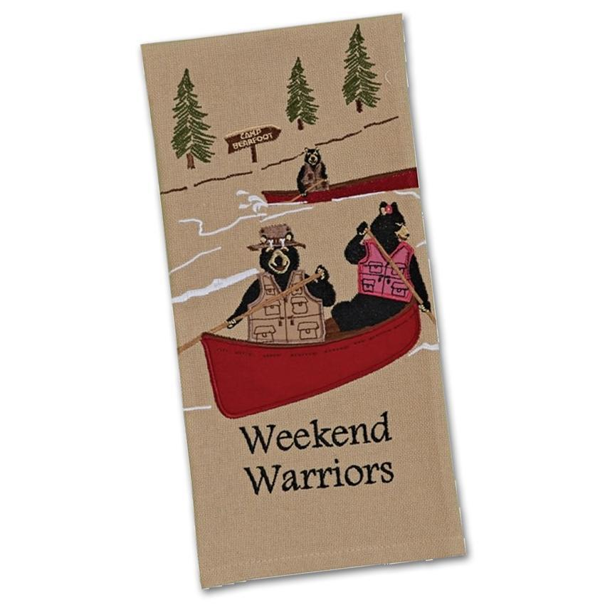Weekend Warrior Bears Embroidered Kitchen Towel