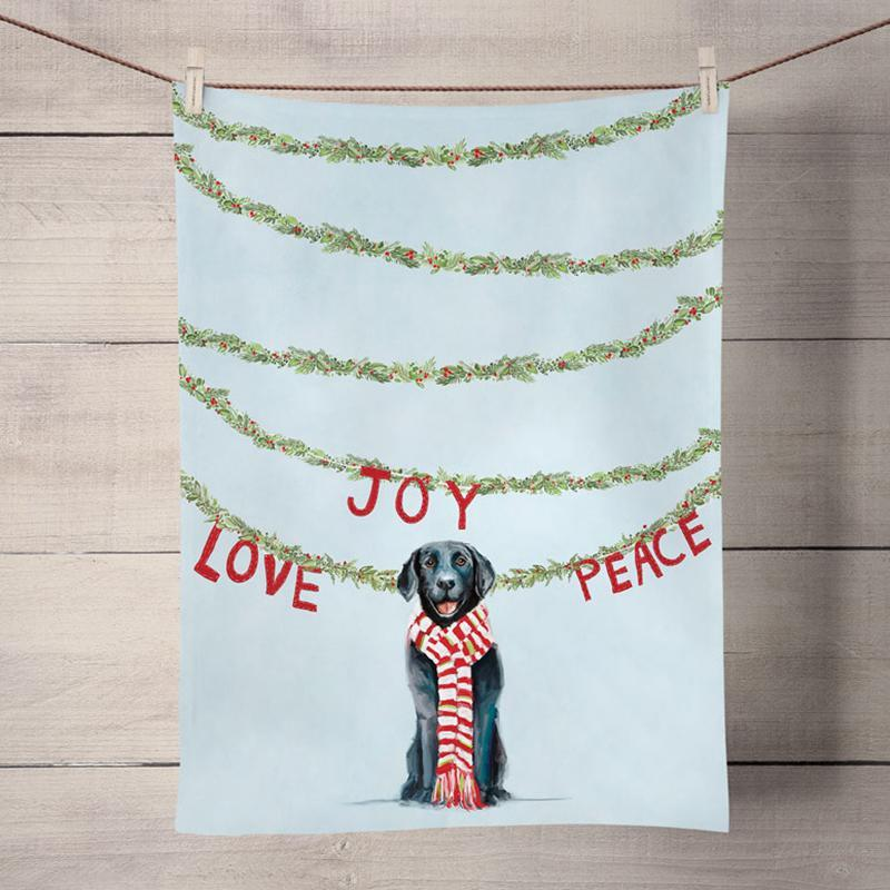 Joy Love & Peace Black Lab Kitchen Towel