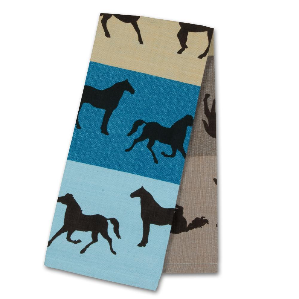 Equus Collage Blue-Tan Horse Kitchen Towel