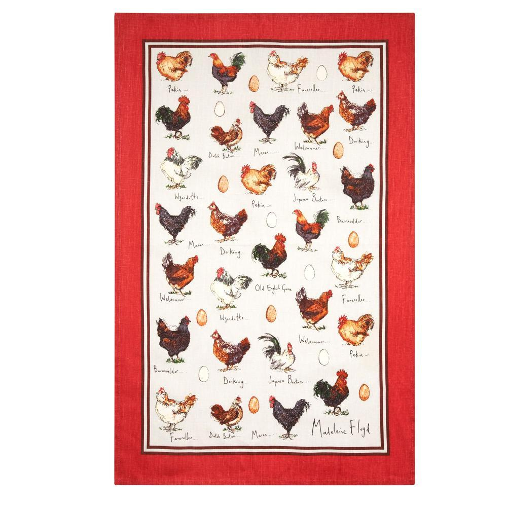 Chickens and Eggs Tea Towel
