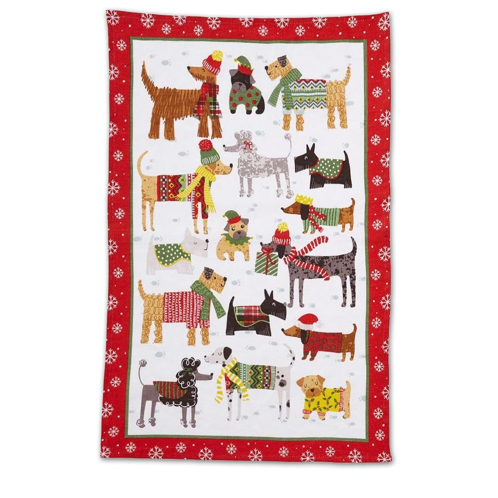 Snow Dogs Cotton Kitchen Tea Towel