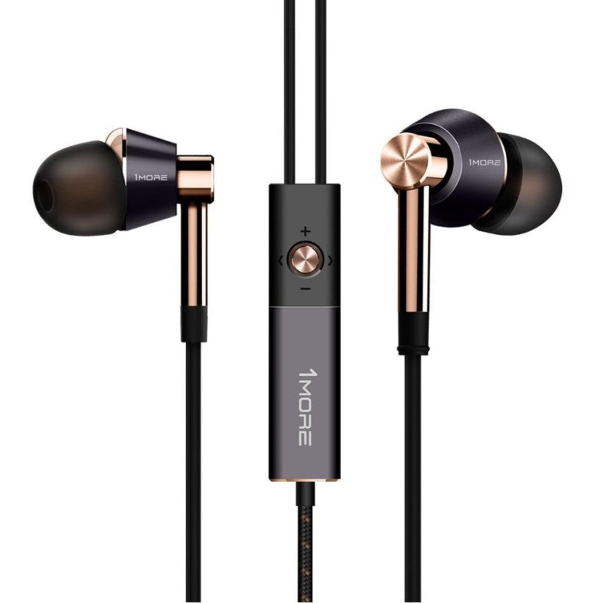 1MORE Triple Driver In-Ear Headphones (Earphones/Earbuds) with Lightning Connector for Apple iOS with Compatible Microphone and Remote (Gold)