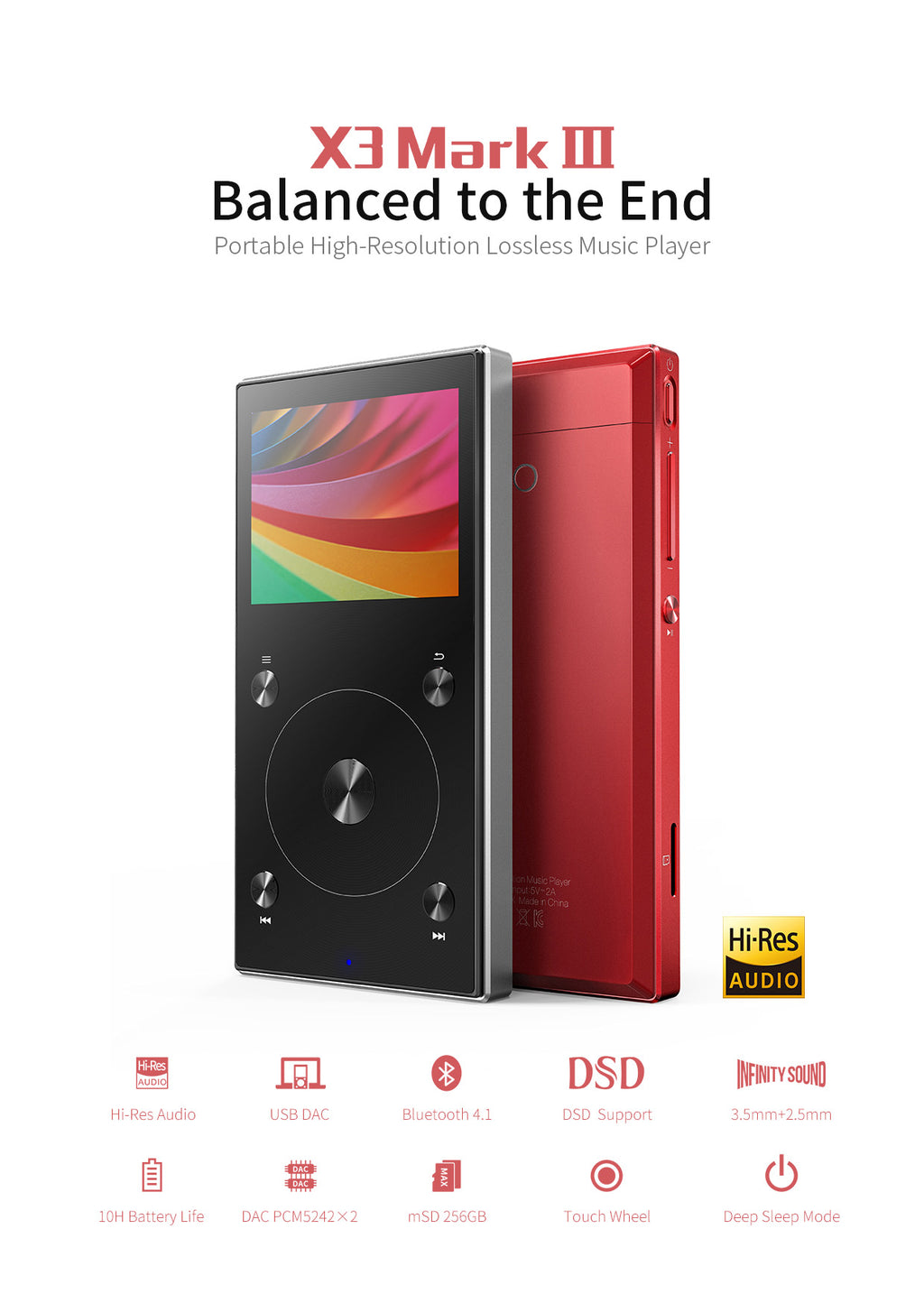 FiiO X3 Mark III Digital Audio Player with Bluetooth 4.1
