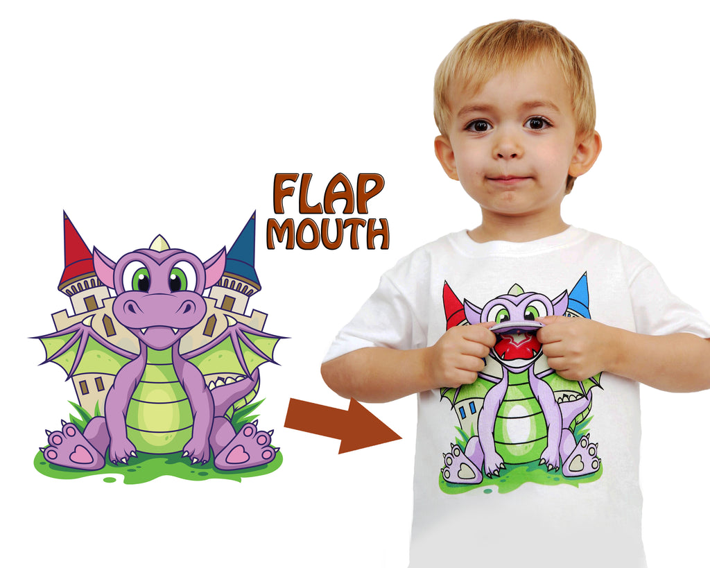 Kids Dragon T-Shirt in White (With Flap Mouth)