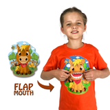 Horse T-Shirt in Orange (With Flap Mouth)