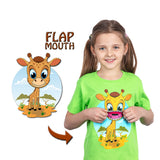 Kids Giraffe T-Shirt in Green (With Flap Mouth)