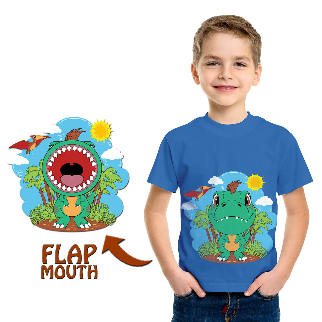 Dinosaur T-Rex T-Shirt in Sky Blue (With Flap Mouth)
