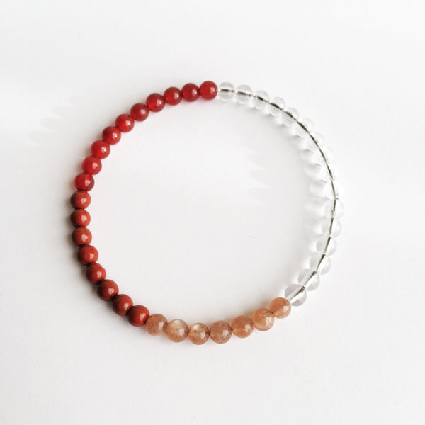Carnelian, Crystal Quartz, Red Jasper & Peach Moonstone Bracelet