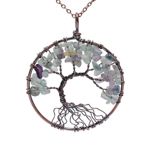 Crystal Natural Stone Tree of Life Necklace