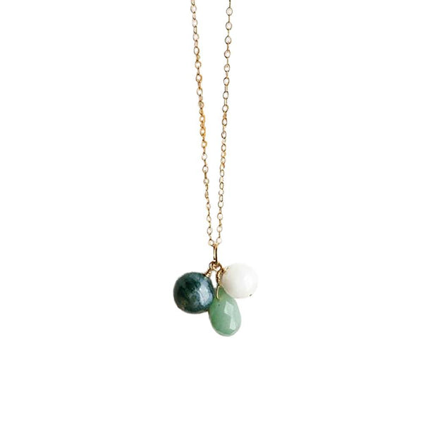 Aventurine, Moss Agate and Moonstone Gold Filled Necklace