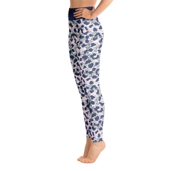 Blue Leopard Yoga Leggings With Raised Waistband