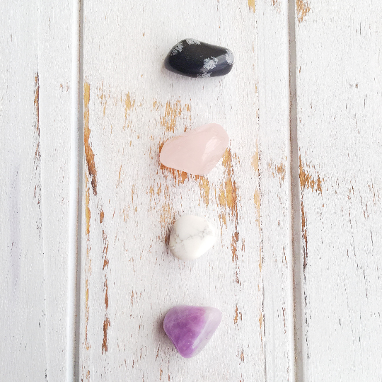 Find Peace, Not Anger* Rose Quartz, Snowflake Obsidian, Amethyst & White Howlite