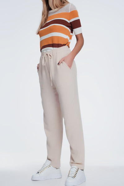 Beige Pants With Elastic Waist