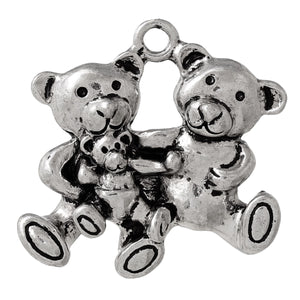 teddy bear family pendant