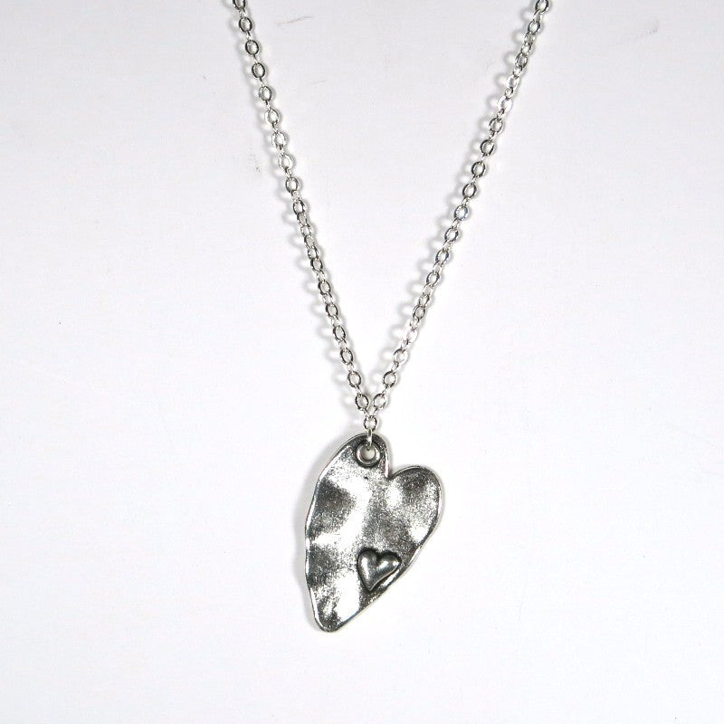 heart within a heart charm necklace