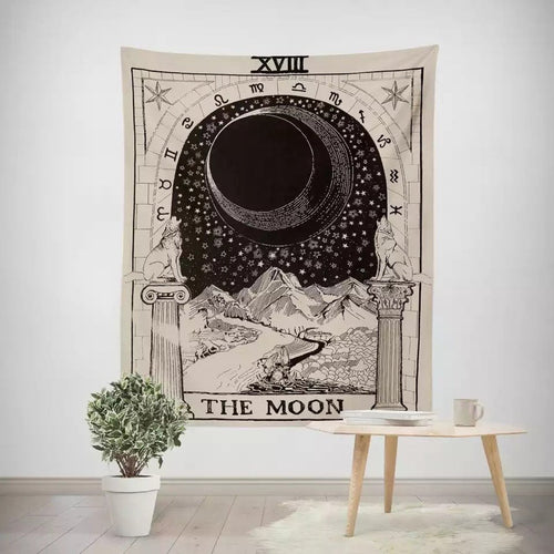 vintage european wall hangings witchcraft ouija tapestry sun moon star dorm room headboard arras carpet astrology blanket
