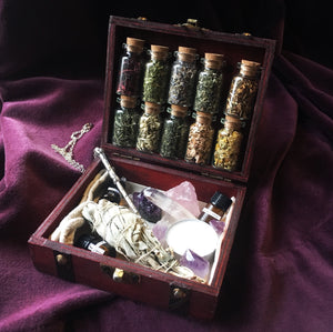 TRAVEL WITCHCRAFT KIT ~ travel altar kit ~ potion making kit ~ travel apothecary kit ~ crystal witchcraft potion kit
