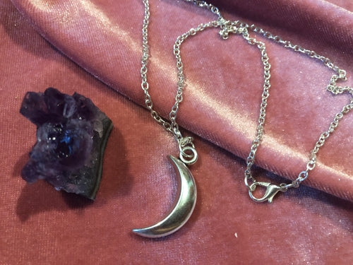 New Moon Necklace ~ Witchcraft Necklace ~ witch jewelry ~ witch pendant jewelry ~ silver witchcraft jewelry ~ moon phase necklace