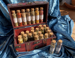 WITCHCRAFT APOTHECARY ~ Witch's herb cabinet w unique herbs roots berries flowers in wooden box