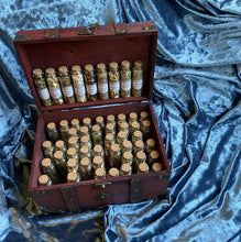 WITCHCRAFT APOTHECARY ~ Witch's herb cabinet w unique herbs roots berries flowers in wooden box wiccan apothecary herbs pagan ritual kit