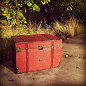 Magic chest wooden box witchcraft chest wooden red box