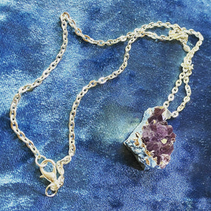 Amethyst Cluster Necklace ~ Crystal Healing jewelry witchcraft kit amethyst jewelry gift for witch