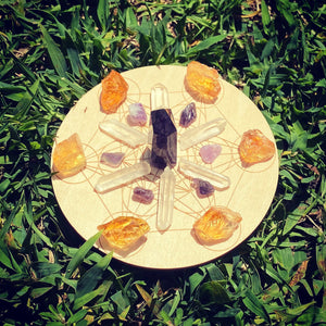 Small crystal grid Metatron crystal grid witchcraft Wicca altar kit tools supplies Crystals Wood crystal grid 4""