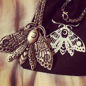 Luna Moth Necklace ~ witchcraft moon necklace lunar moth silver necklace