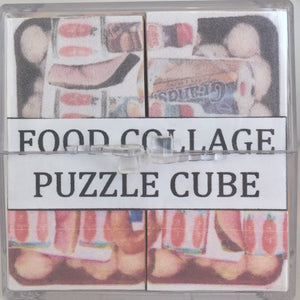 food collage puzzle cube