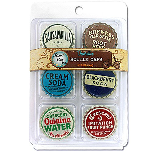 "Bottle Cap inc. 1"" Collection #1 Decorative Standard Bottle Caps 6 pcs./Pkg"