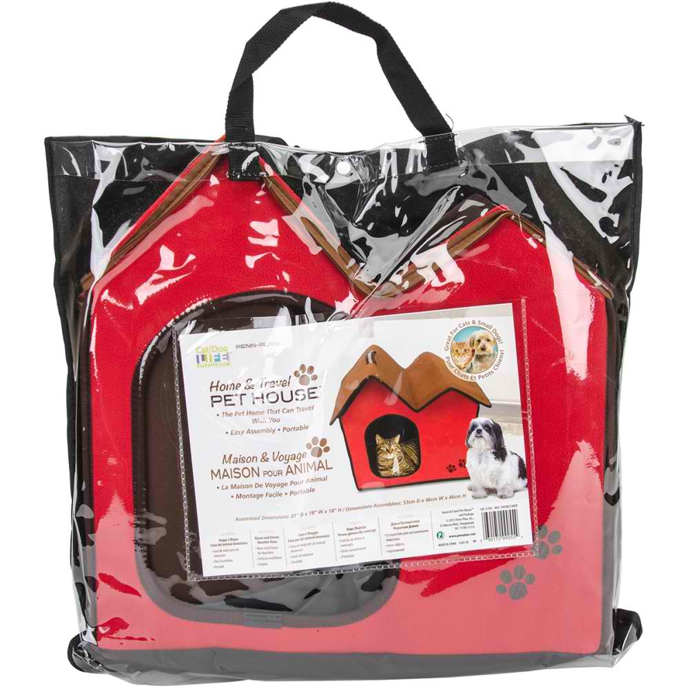 Penn-Plax CAT/DOG Life Home & Travel Pet House (Red)