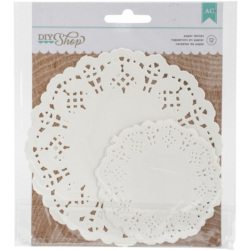 American Crafts DIY Shop 2 White Paper Doilies 12 pcs./Pkg