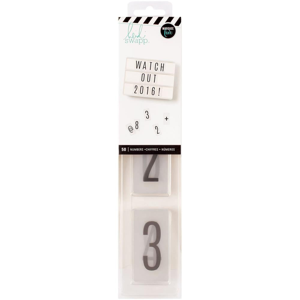 Heidi Swapp Lightbox Numbers/Black On White Inserts 50/Pkg