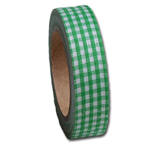 "Maya Road .59"" x 5 Yards Leaf Green Gingham Fabric Tape"